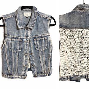 ChiQle Denim Architect Vest W/Lace Back